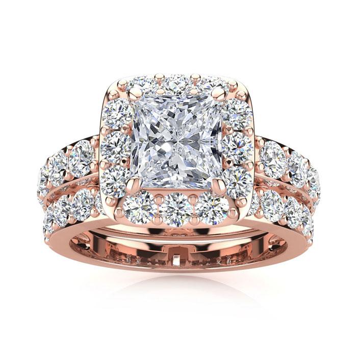 3 1/2 Carat Princess Cut Halo Diamond Bridal Engagement Ring Set in 14k Rose Gold (9.4 g) (