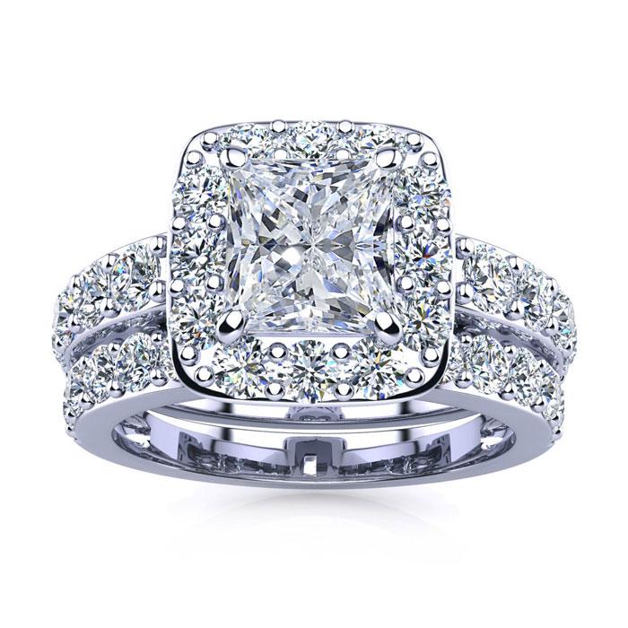 4 1/2 Carat Radiant Cut Halo Diamond Bridal Engagement Ring Set i