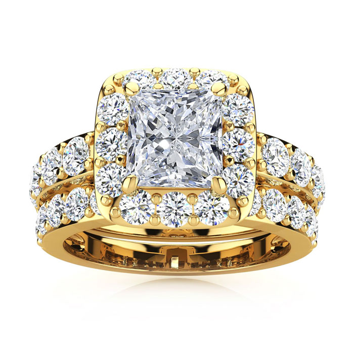 4 1/2 Carat Radiant Halo Diamond Bridal Set in 14k Yellow Gold