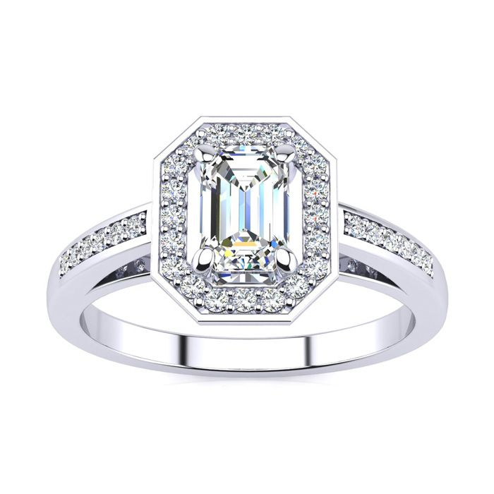 1 Carat Halo Diamond Engagement Ring in 14K White Gold (4.3 g) (H-I, SI1-SI2 Clarity Enhanced) by SuperJeweler