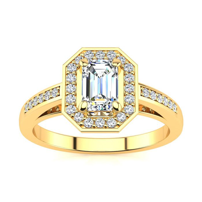 1 Carat Halo Diamond Engagement Ring in 14K Yellow Gold (4.3 g) (H-I, SI1-SI2 Clarity Enhanced) by SuperJeweler