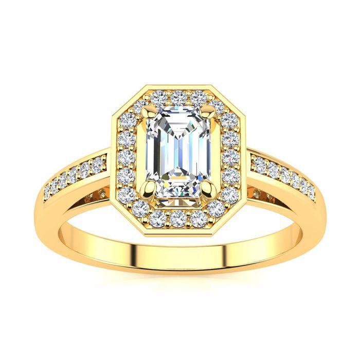 1 Carat Halo Diamond Engagement Ring in 14K Yellow Gold (4.3 g) (