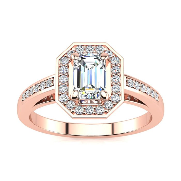 1 Carat Halo Diamond Engagement Ring in 14K Rose Gold (4.3 g) (H-I, SI1-SI2 Clarity Enhanced) by SuperJeweler