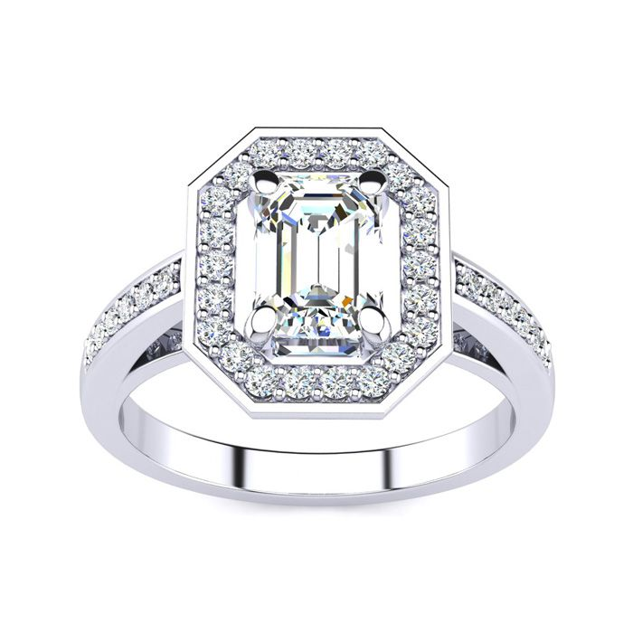 1 1/3 Carat Halo Diamond Engagement Ring in 14K White Gold (4.4 g) (