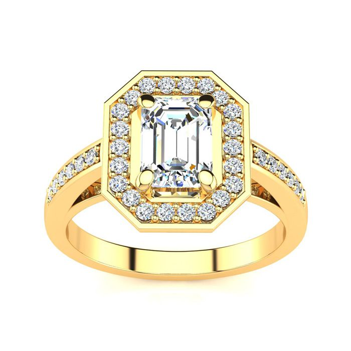1 1/3 Carat Halo Diamond Engagement Ring in 14K Yellow Gold (4.4 g) (H-I, SI1-SI2 Clarity Enhanced) by SuperJeweler