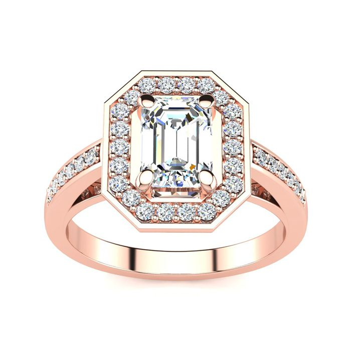 1 1/3 Carat Halo Diamond Engagement Ring in 14K Rose Gold (4.4 g) (H-I, SI1-SI2 Clarity Enhanced) by SuperJeweler