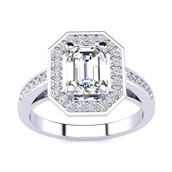 2 Carat Halo Diamond Engagement Ring in 14K White Gold (5 g) (H-I