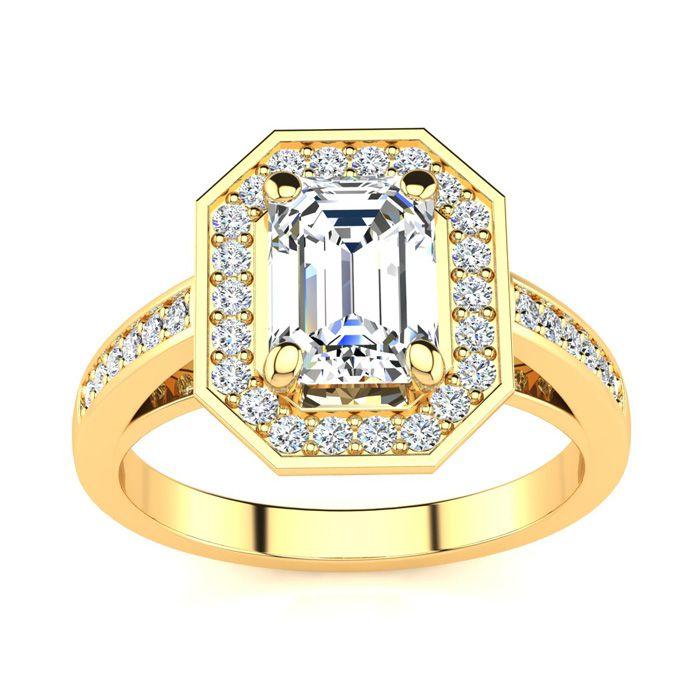 2 Carat Halo Diamond Engagement Ring in 14K Yellow Gold (5 g) (H-