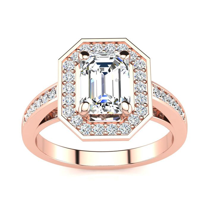 2 Carat Halo Diamond Engagement Ring in 14K Rose Gold (5 g) (