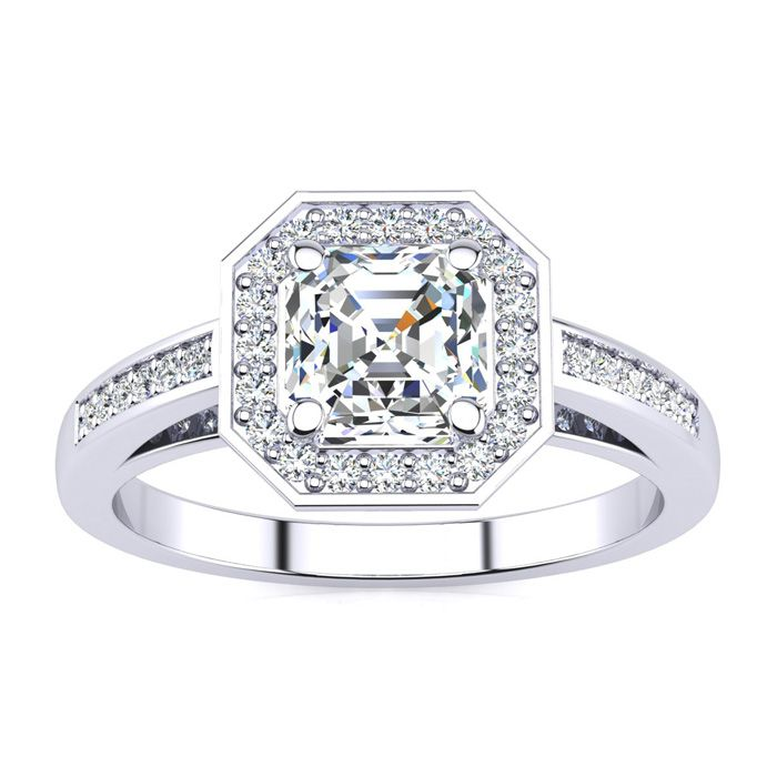 1.25 Carat Asscher Cut Halo Diamond Engagement Ring in 14K White Gold (4.1 g) (H-I, SI1-SI2 Clarity Enhanced) by SuperJeweler