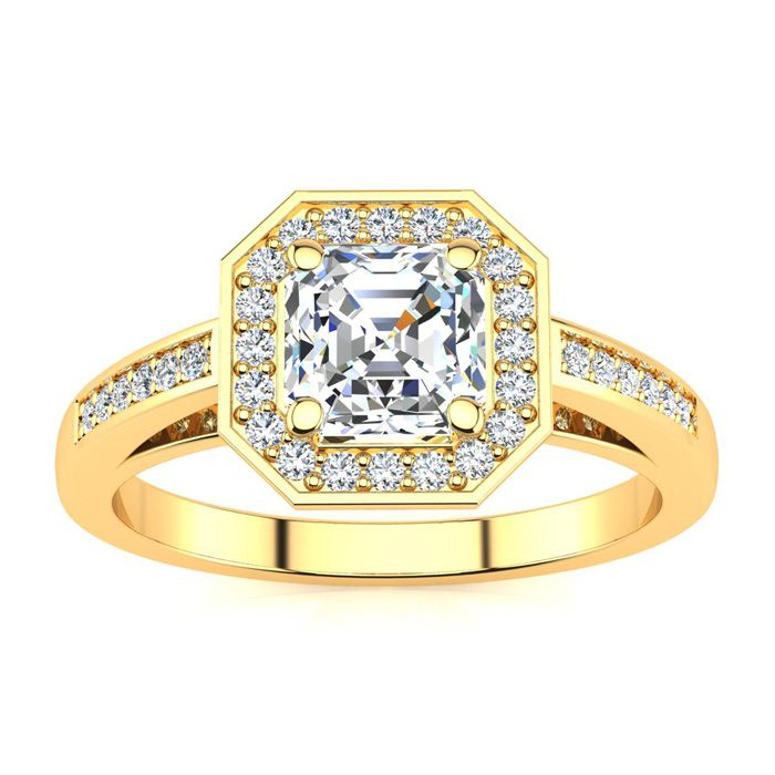 1.25 Carat Asscher Cut Halo Diamond Engagement Ring in 14K Yellow Gold (4.1 g) (H-I, SI1-SI2 Clarity Enhanced) by SuperJeweler