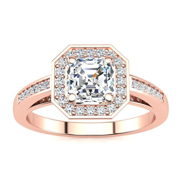 1.25 Carat Asscher Cut Halo Diamond Engagement Ring in 14K Rose Gold (4.1 g) (H-I, SI1-SI2 Clarity Enhanced) by SuperJeweler