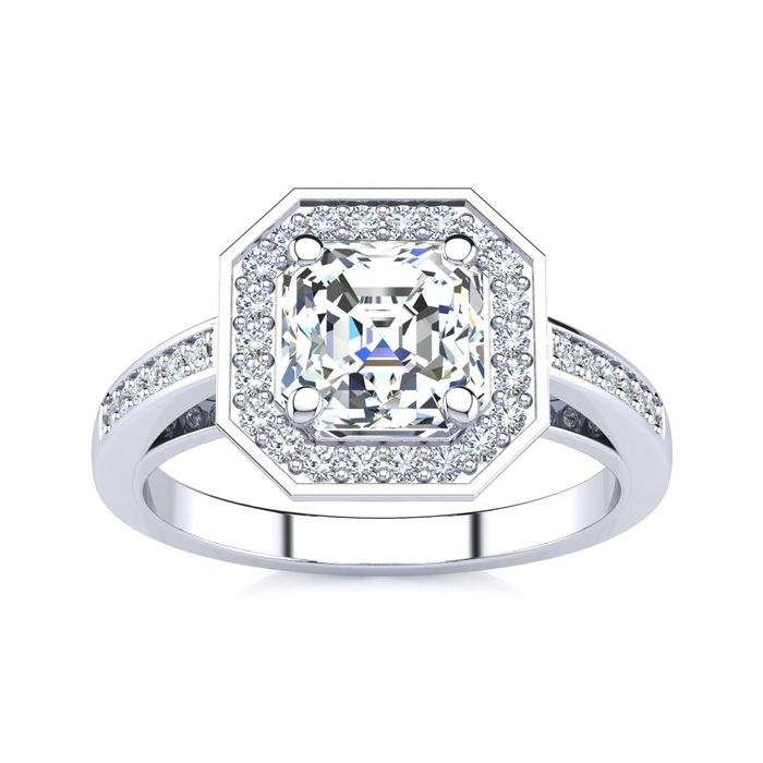 2 Carat Asscher Cut Halo Diamond Engagement Ring in 14K White Gold (4.8 g) (H-I, SI1-SI2 Clarity Enhanced) by SuperJeweler