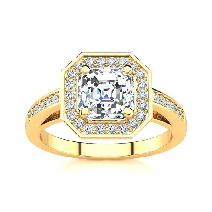 2 Carat Asscher Cut Halo Diamond Engagement Ring in 14K Yellow Gold (4.8 g) (H-I, SI1-SI2 Clarity Enhanced) by SuperJeweler