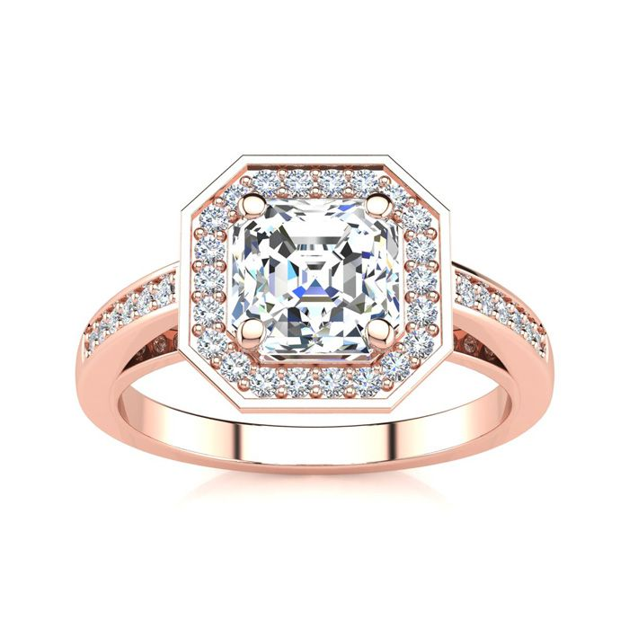 2 Carat Asscher Cut Halo Diamond Engagement Ring in 14K Rose Gold