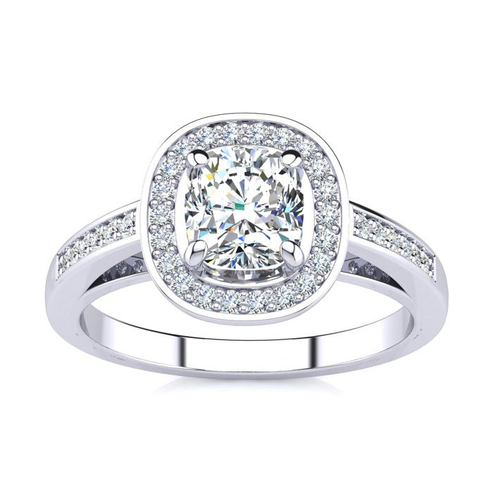 1.25 Carat Cushion Cut Halo Diamond Engagement Ring in 14K White Gold (4 g) (I-J, I1-I2 Clarity Enhanced) by SuperJeweler