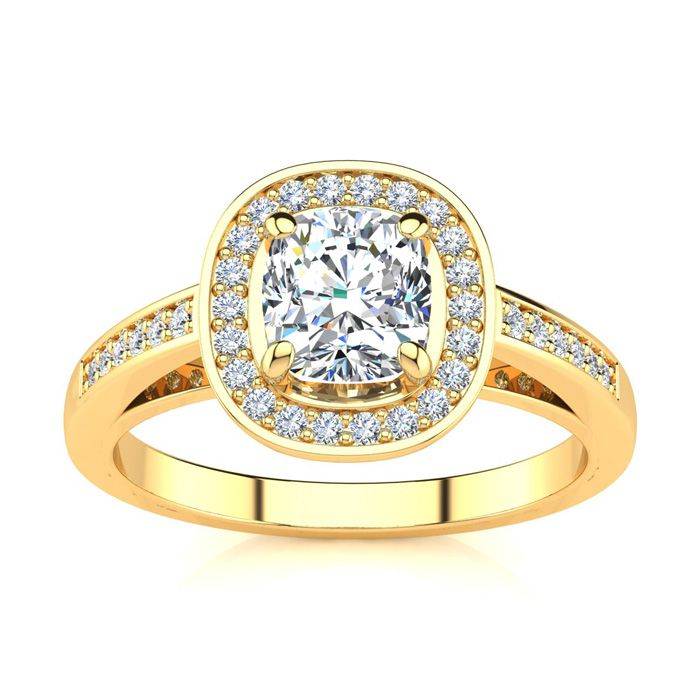 1.25 Carat Cushion Cut Halo Diamond Engagement Ring in 14K Yellow Gold (4 g) (I-J, I1-I2 Clarity Enhanced) by SuperJeweler