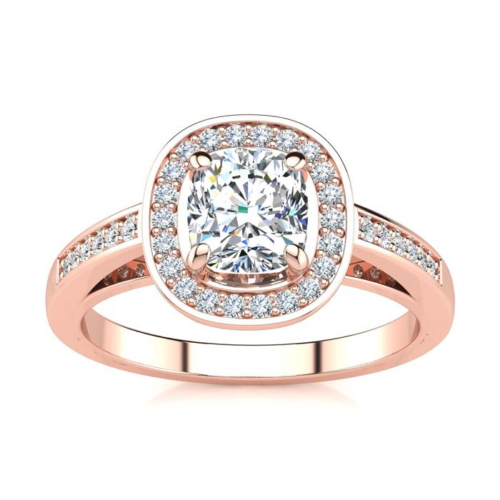 1.25 Carat Cushion Cut Halo Diamond Engagement Ring in 14K Rose Gold (4 g) (I-J, I1-I2 Clarity Enhanced) by SuperJeweler