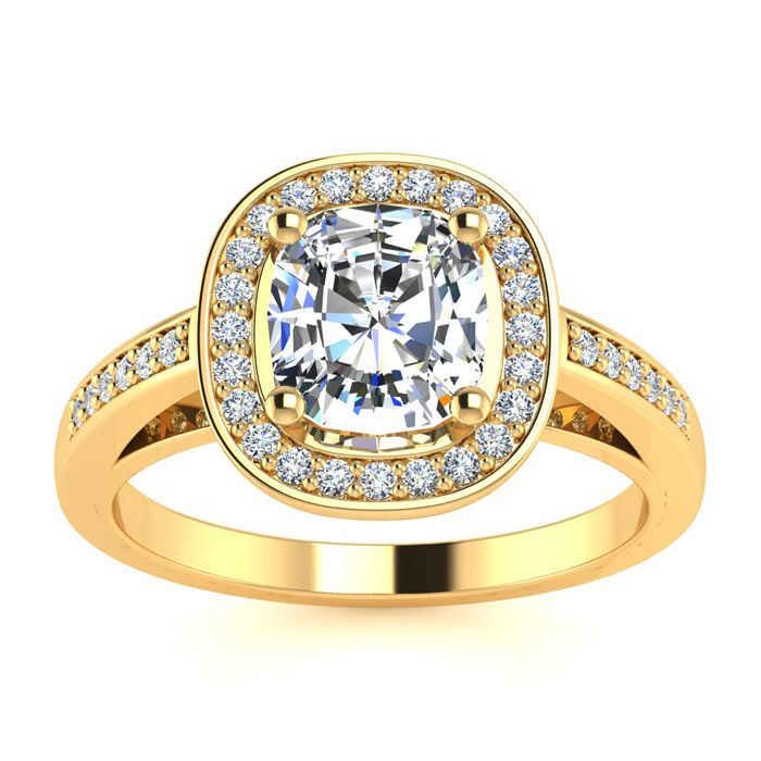 1 3/4 Carat Cushion Cut Halo Diamond Engagement Ring in 14K Yellow Gold (4.2 g) (I-J, I1-I2 Clarity Enhanced) by SuperJeweler