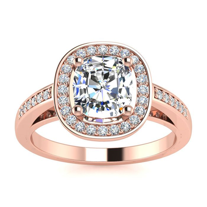 1 3/4 Carat Cushion Cut Halo Diamond Engagement Ring in 14K Rose Gold (4.2 g) (I-J, I1-I2 Clarity Enhanced) by SuperJeweler