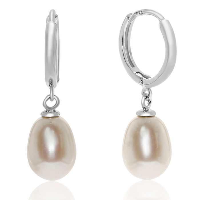 Teardrop Freshwater Pearl Hoop Earrings in Sterling Silver by SuperJeweler