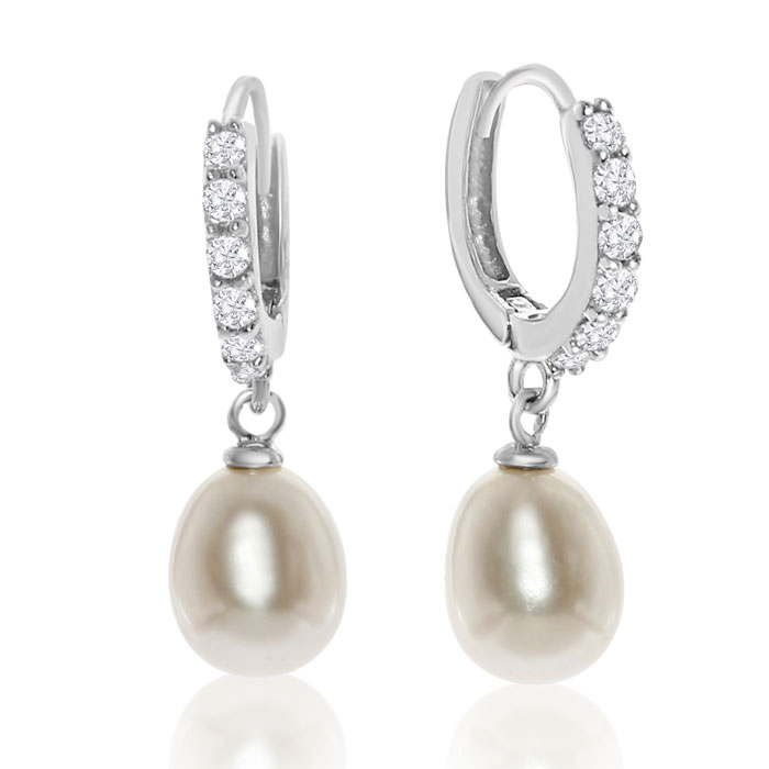 Freshwater Pearl & Crystal Hoop Earrings in Sterling Silver by SuperJeweler