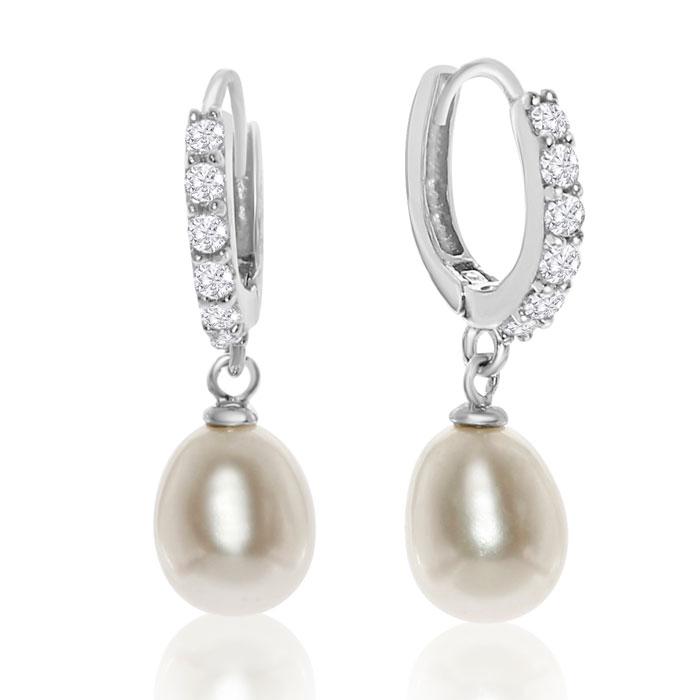 Freshwater Pearl and Crystal Hoop Earrings In