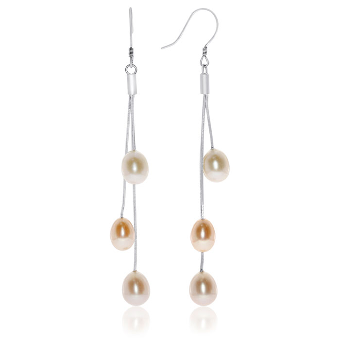 Triple Peacock Freshwater Pearl Dangle Earrings in Sterling Silve