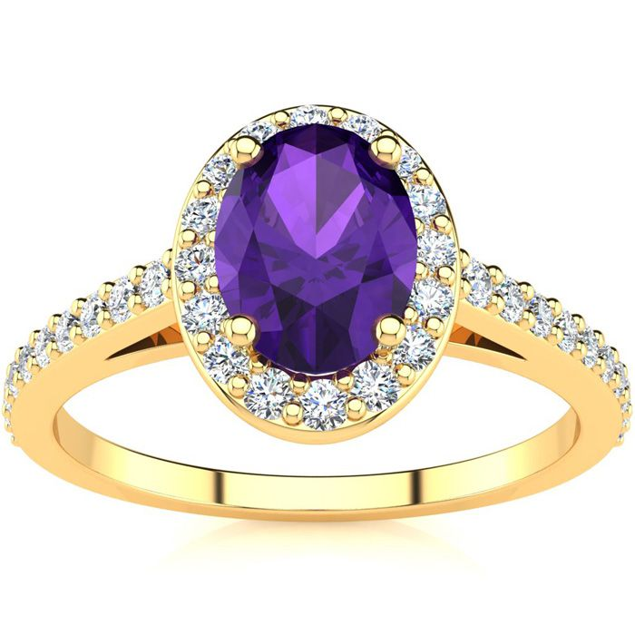 1 Carat Oval Shape Amethyst & Halo Diamond Ring in 14K Yellow Gold (2.8 g), H/I by SuperJeweler