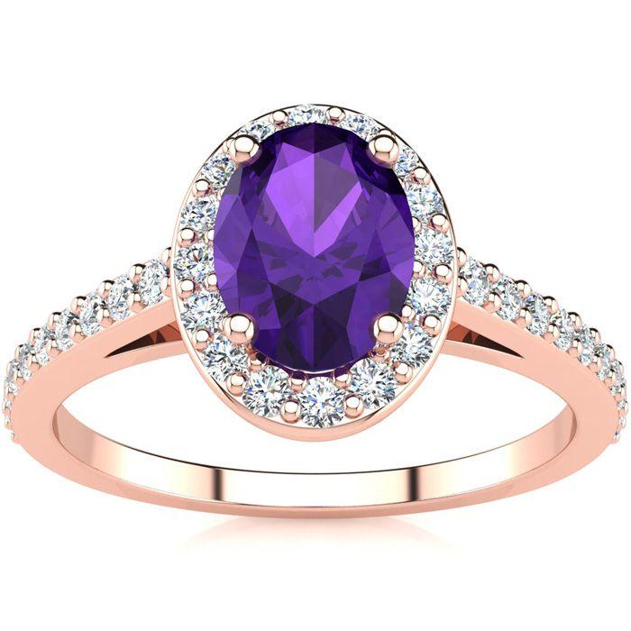 1 Carat Oval Shape Amethyst & Halo Diamond Ring in 14K Rose Gold