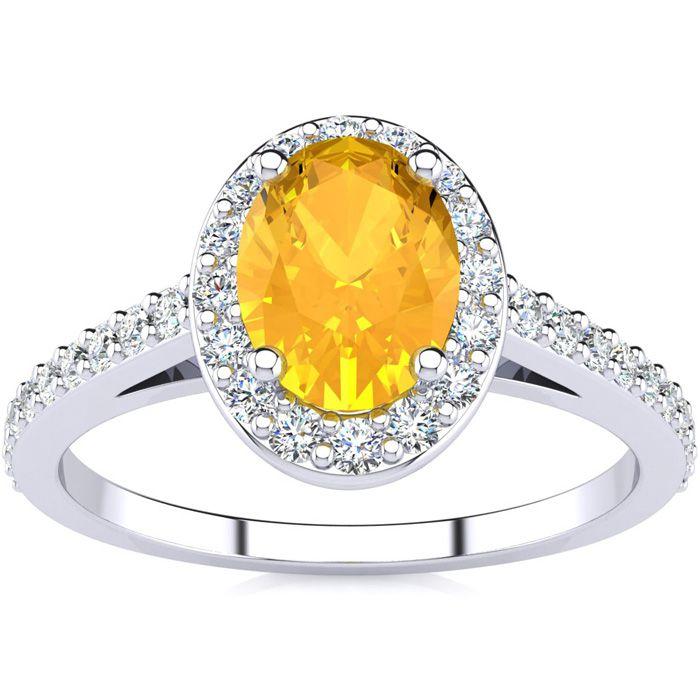 1 Carat Oval Shape Citrine & Halo Diamond Ring in 14K White Gold