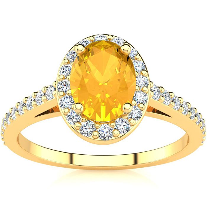 1 Carat Oval Shape Citrine & Halo Diamond Ring in 14K Yellow Gold