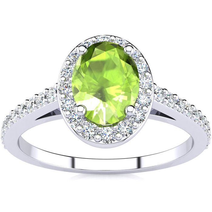1 Carat Oval Shape Peridot & Halo Diamond Ring in 14K White Gold (2.8 g), H/I by SuperJeweler