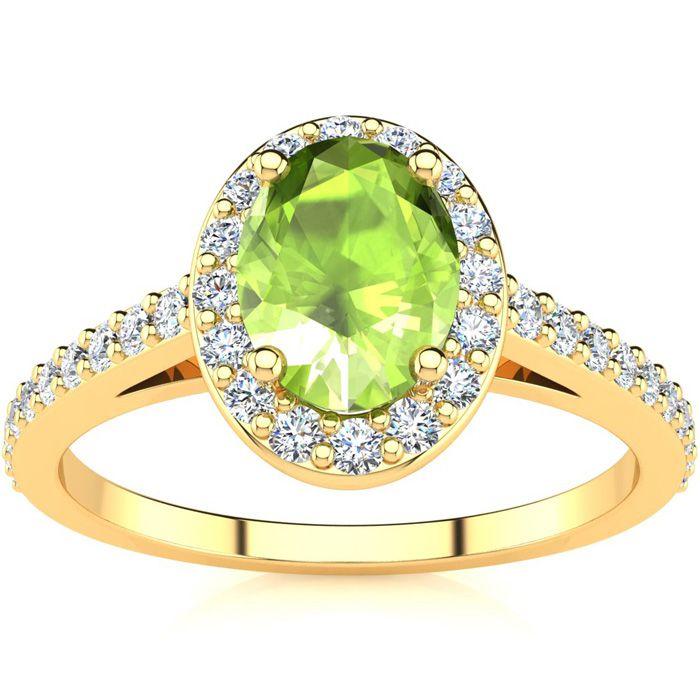 1 Carat Oval Shape Peridot & Halo Diamond Ring in 14K Yellow Gold