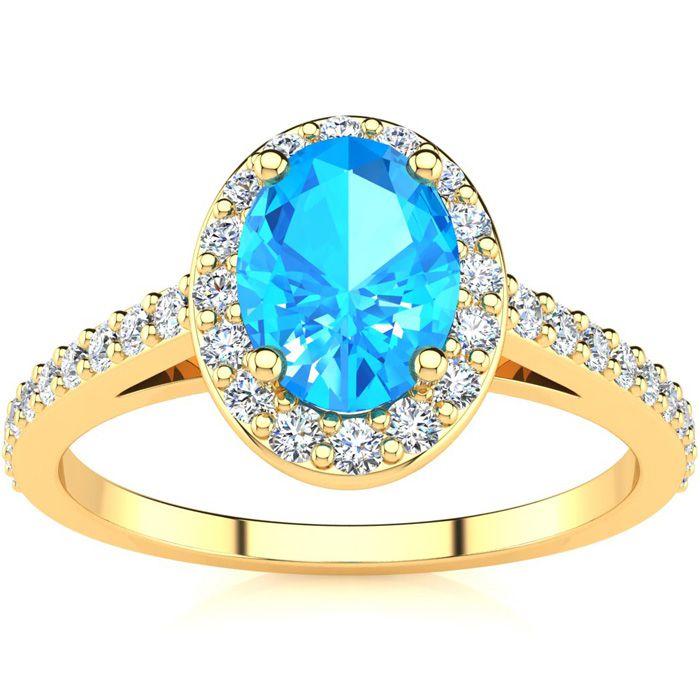 1 1/3 Carat Oval Shape Blue Topaz & Halo Diamond Ring in 14K Yell