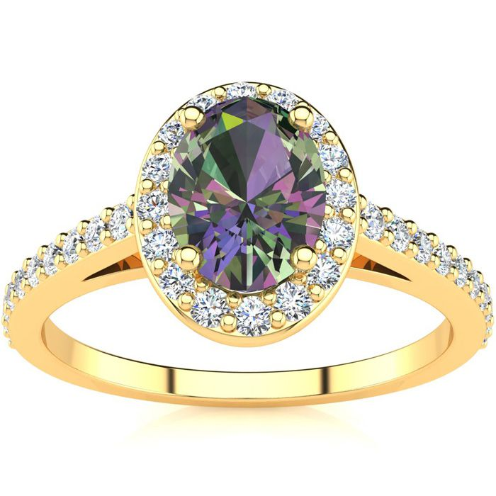 1 Carat Oval Shape Mystic Topaz & Halo Diamond Ring in 14K Yellow