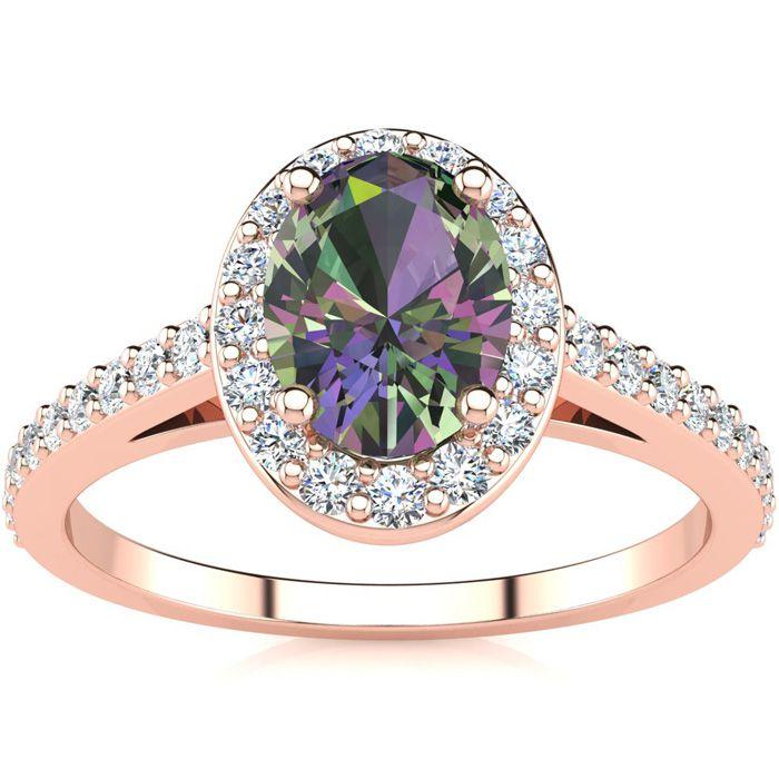 1 Carat Oval Shape Mystic Topaz & Halo Diamond Ring in 14K Rose G