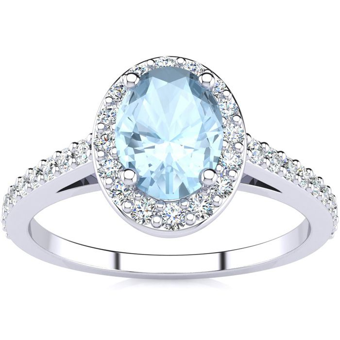 1 Carat Oval Shape Aquamarine & Halo Diamond Ring in 14K White Gold (2.8 g), H/I by SuperJeweler