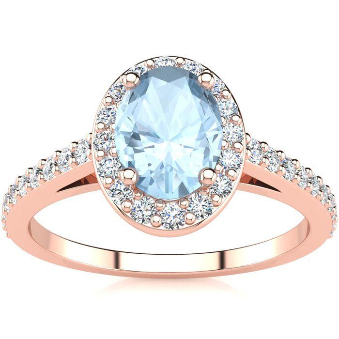 1 Carat Oval Shape Aquamarine & Halo Diamond Ring in 14K Rose Gol