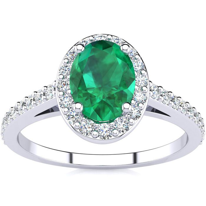 1 Carat Oval Shape Emerald Cut & Halo Diamond Ring in 14K White G