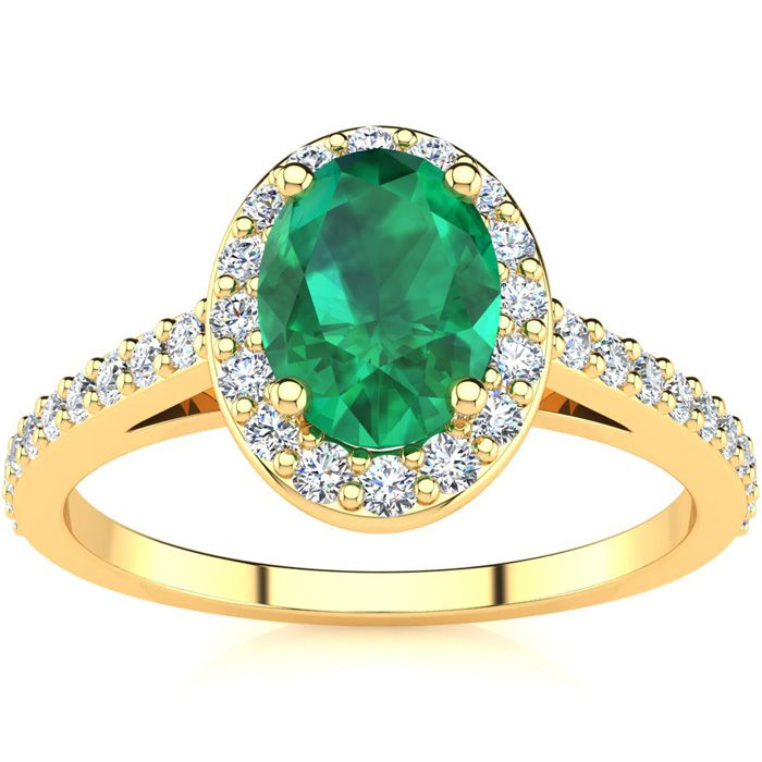 1 Carat Oval Shape Emerald and Halo Diamond Ring In 14 Karat Yellow Gold