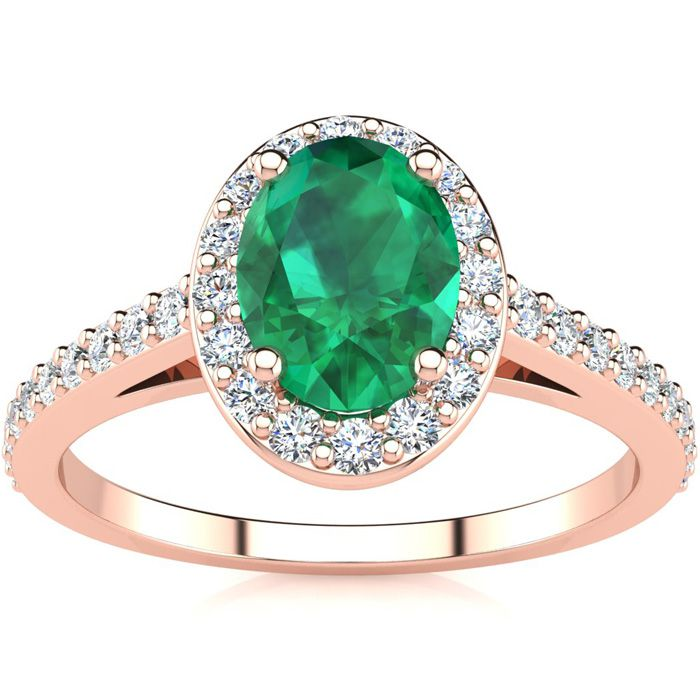 1 Carat Oval Shape Emerald and Halo Diamond Ring In 14 Karat Rose Gold