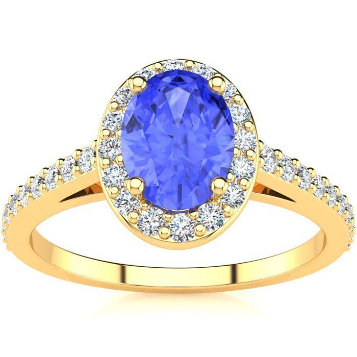 1.25 Carat Oval Shape Tanzanite & Halo Diamond Ring in 14K Yellow Gold (2.8 g), H/I by SuperJeweler