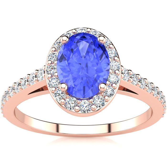 1.25 Carat Oval Shape Tanzanite & Halo Diamond Ring in 14K Rose G