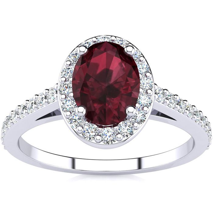 1 1/3 Carat Oval Shape Garnet & Halo Diamond Ring in 14K White Go