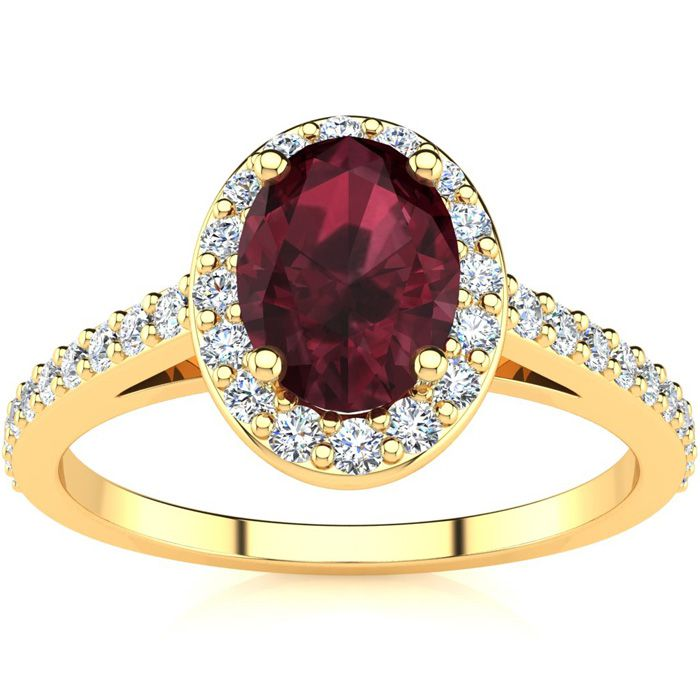 1 1/3 Carat Oval Shape Garnet and