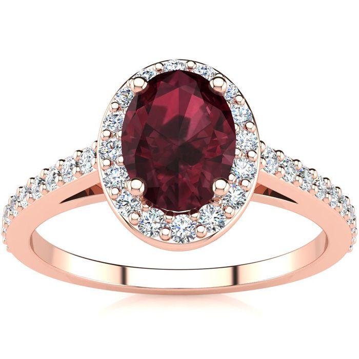 1 1/3 Carat Oval Shape Garnet & Halo Diamond Ring in 14K Rose Gol