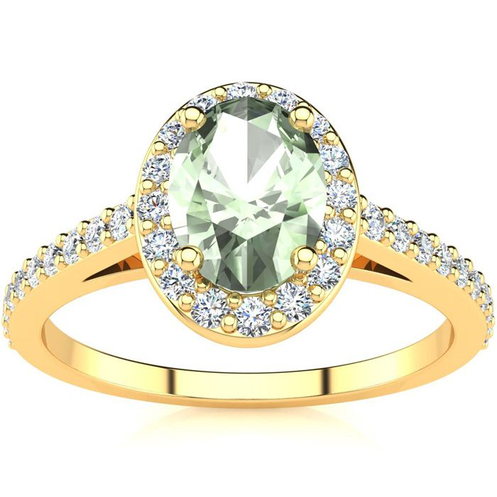 1 Carat Oval Shape Green Amethyst & Halo Diamond Ring in 14K Yellow Gold (2.8 g), H/I by SuperJeweler