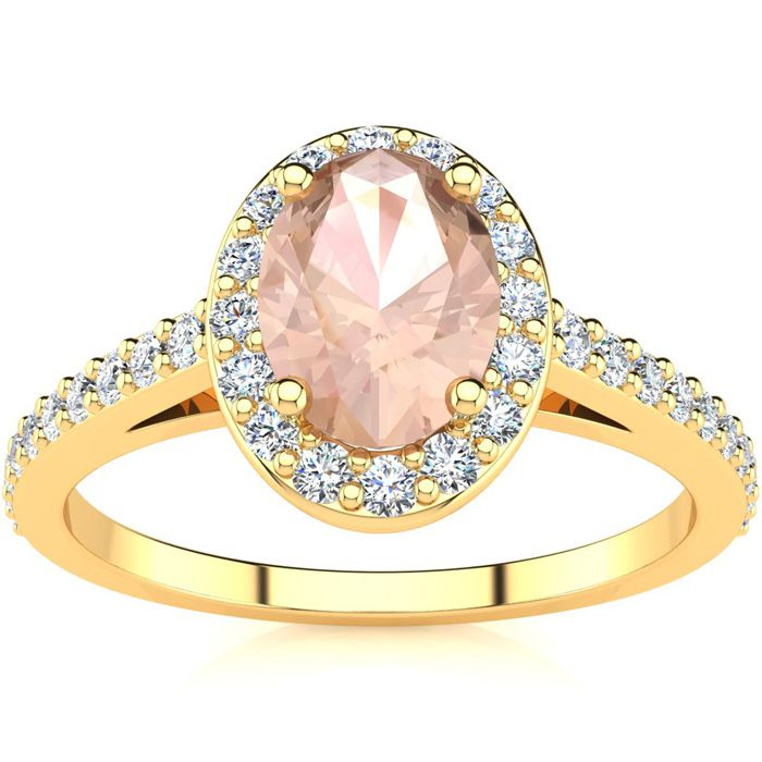 1 Carat Oval Shape Morganite & Halo Diamond Ring in 14K Yellow Go