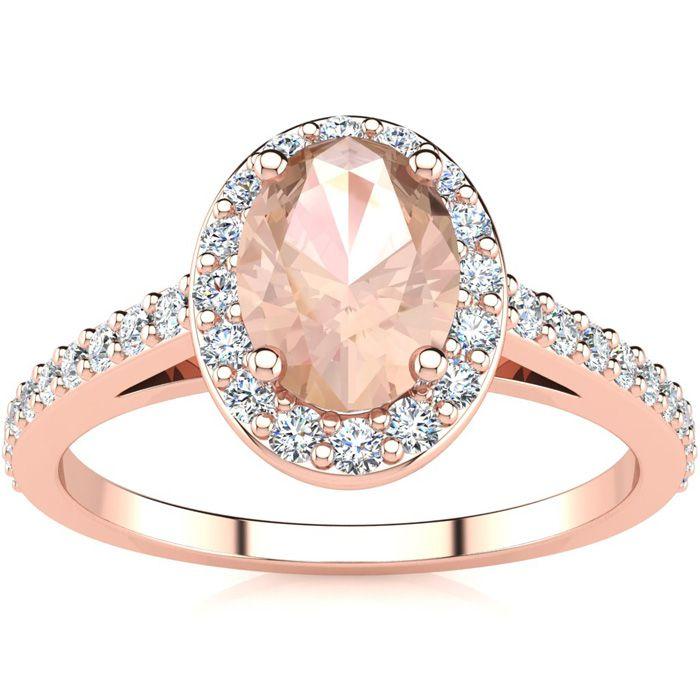 1 Carat Oval Shape Morganite & Halo Diamond Ring in 14K Rose Gold